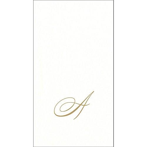 Caspari White Pearl Boxed Monogram Guest Towel Collection