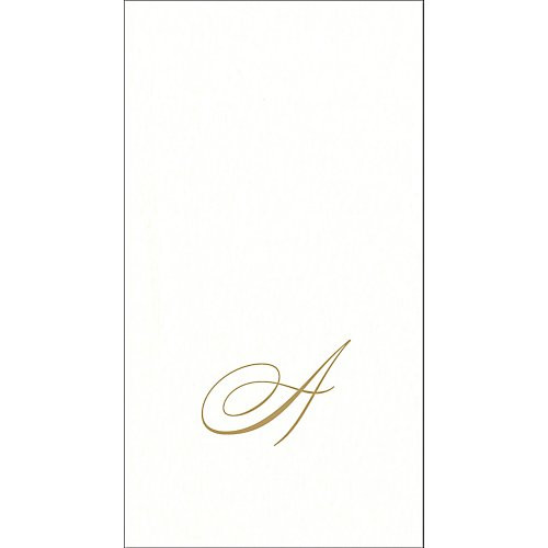 Caspari White Pearl Boxed Monogram Guest Towel Collection