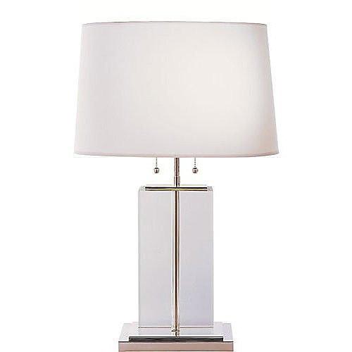 Thomas O'Brien Large Crystal Block Table Lamp with Cotton Shade