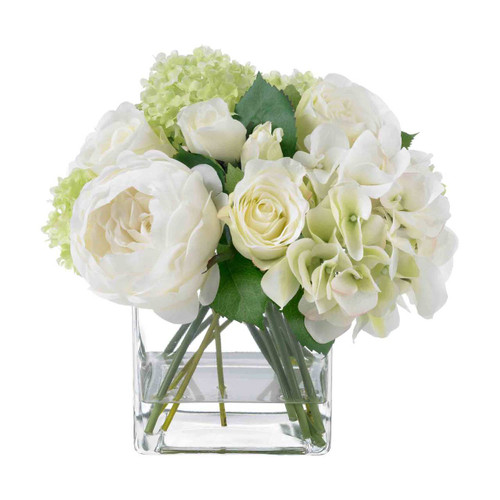 Diane James Home Blooms White Summer Rose Bouquet