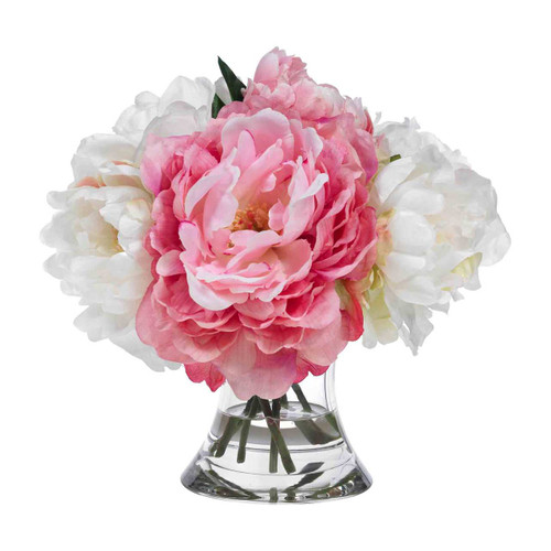 Diane James Home Blooms Pink and White Peony Bouquet