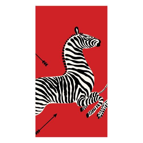 Caspari Red Zebra Guest Towel