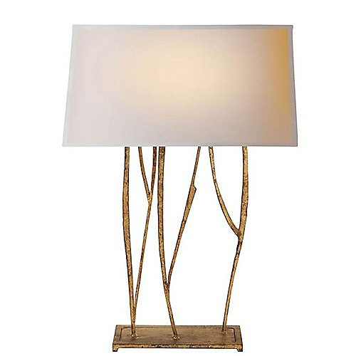 Visual Comfort Aspen Console Lamp in Black Rust with Natural Paper Shade