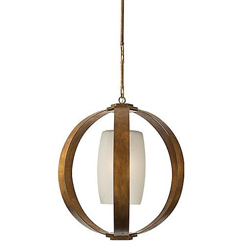 Visual Comfort Metal Banded Large Lantern in Gilded Iron with Frosted Glass