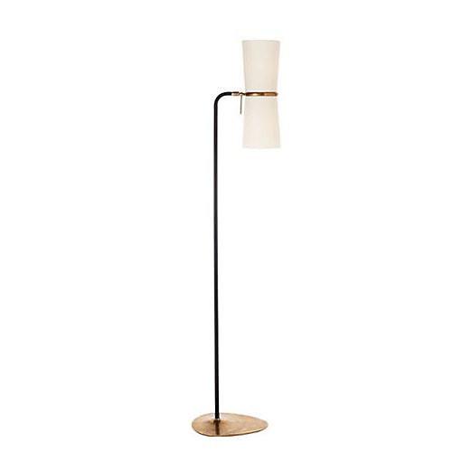 AERIN Clarkson Floor Lamp in Black with Linen Shade