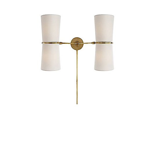 Aerin Clarkson Double Sconce, White & Antique Brass Accent