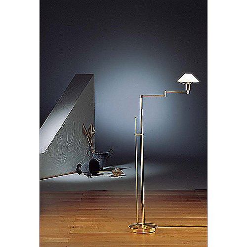 Holtkoetter Satin Nickel with Satin White Glass Shade Floor Lamp #9434