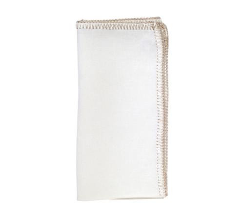 Kim Seybert Crochet Edge White/Silver Napkin, Set of 4