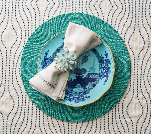 Kim Seybert Herringbone Seafoam/Gold Napkin, Set of 4