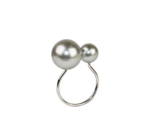 Kim Seybert Pearl Gray/Silver Napkin Ring, Set of 4