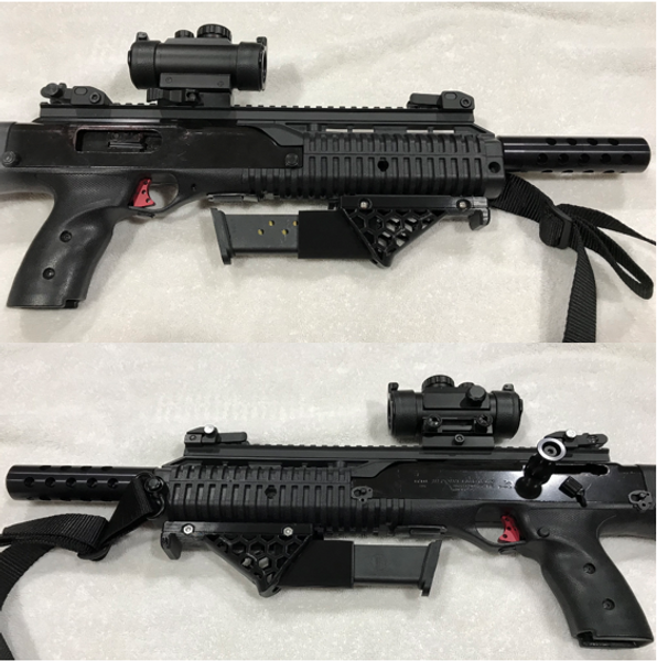 380 & 9mm TS, Hex angled foregrip with mag storage