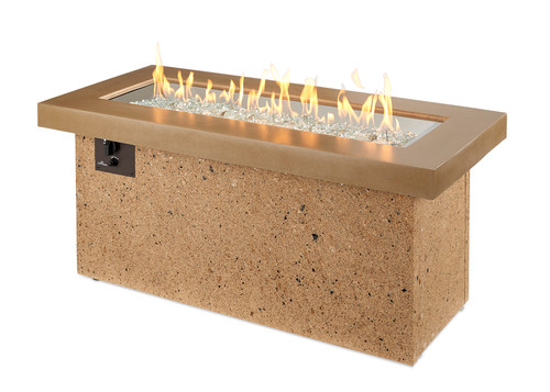 Outdoor Great Room Brown Key Largo Linear Gas Fire Pit Table