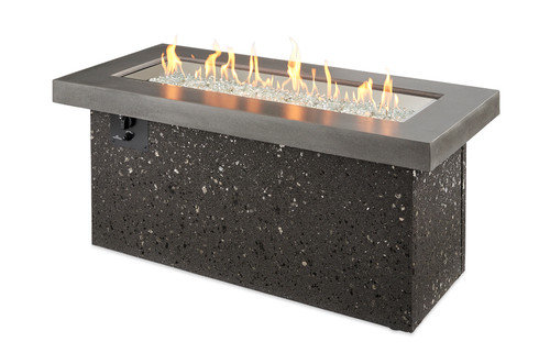 Outdoor Great Room Grey Key Largo Linear Gas Fire Pit Table