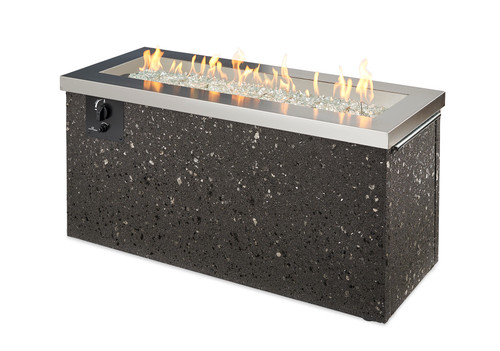 Outdoor Great Room Stainless Steel Key Largo Linear Gas Fire Pit Table