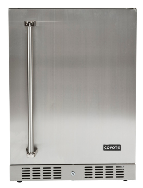 """Coyote 24"""" Built-in Outdoor Refrigerator; Hinge on Right Side"""
