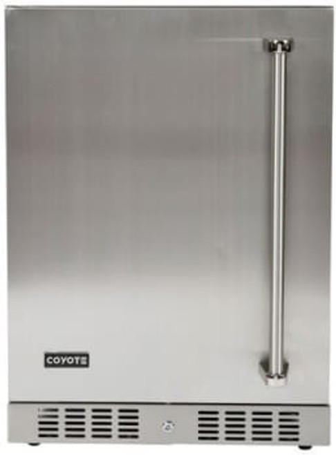 "Coyote 24"" Built-in Outdoor Refrigerator; Hinge on Left Side"