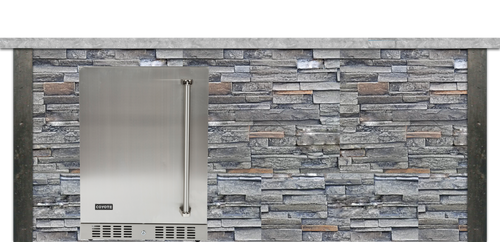 Coyote 8ft Bar Island - Refrigerator with Gray Stacked Stone Profile Bar on Left FOR C1BIR24 (L or R)