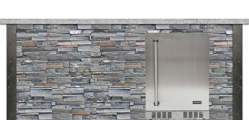 Coyote 8ft Bar Island - Refrigerator with Gray Stacked Stone Profile Bar on Right FOR C1BIR24 (L or R)