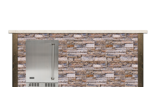 Coyote 8ft Bar Island - Refrigerator with Brown Stacked Stone Profile Bar on Left FOR C1BIR24 (L or R)