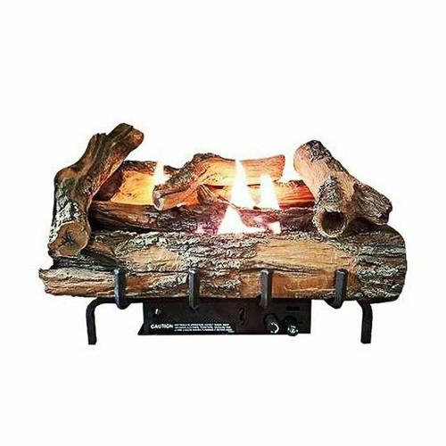 "Everwarm Low Country Timber 18"" Logset w/ Vent Free Burner, Manual Valve"