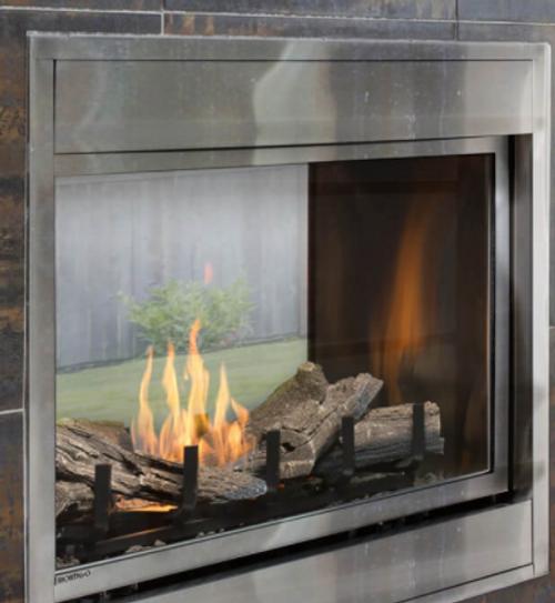 "Montigo Divine 38"" Standing Pilot See-Through Ventless Outdoor Fireplace"