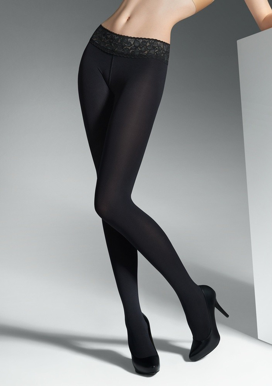 79baf9d82cc Opaque tights   Comfortable lace band   European made   Finest ...