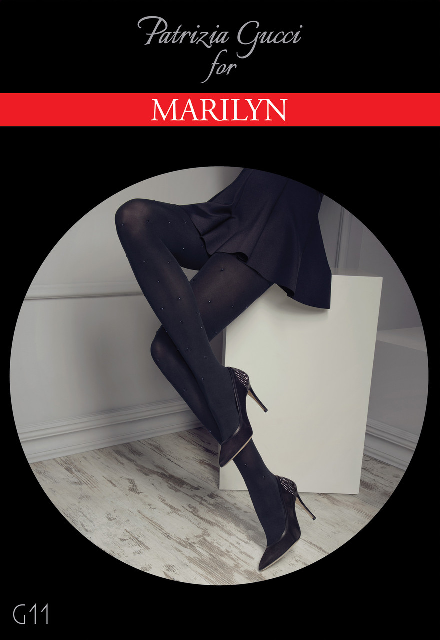 Designer opaque tights with crystals , G11 by Patrizia Gucci for MARILYN