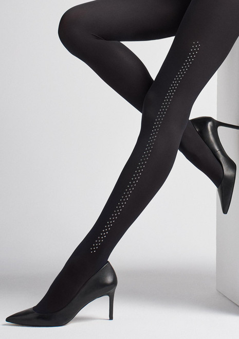 MARILYN Fashion opaque tights with crystal stripes pattern BRADS T19 black