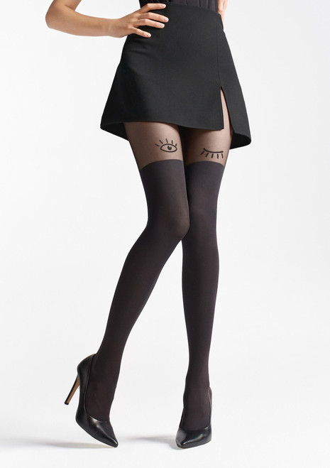 MARILYN Fashion tights imitating stockings with pattern - ZAZU U07 black