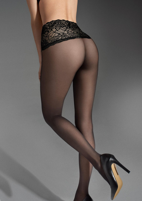 High waist lace waisband shaping seamless tights lux line by MARILYN black 3