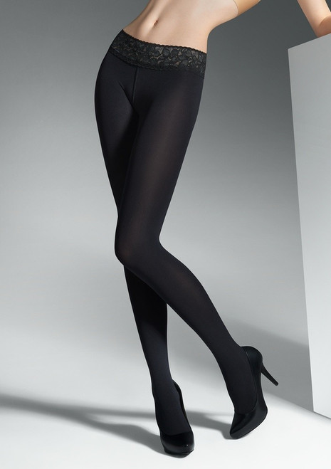 EROTIC VITA BASSA 100 denier opaque tights with lace band by MARILYN Nero