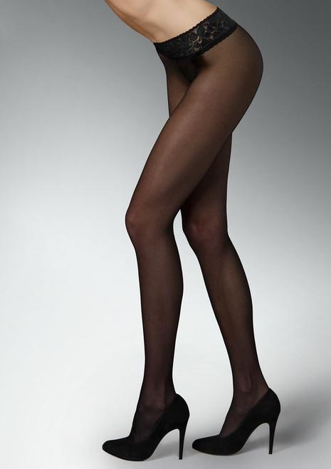 Sheer tights with lace band EROTIC VITA BASSA 30 denier tights by MARILYN