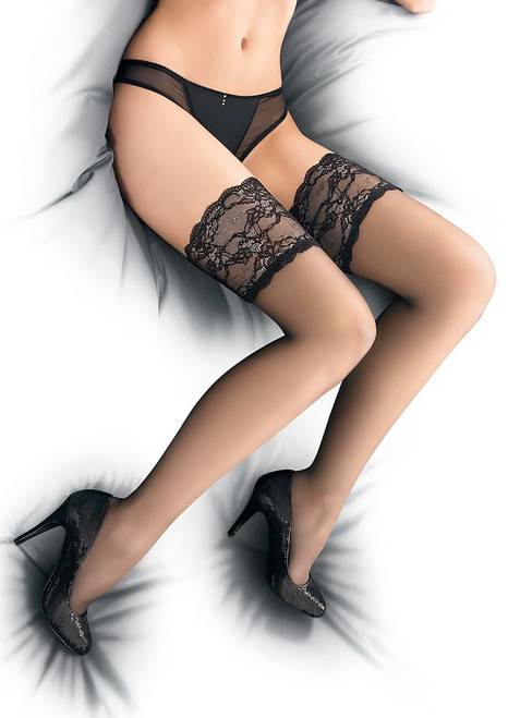 Sexy French lace top hold ups - PARIS 03 Black