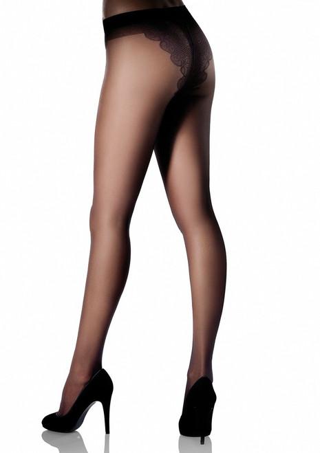 Floral panties tights BIKINI20 Noir