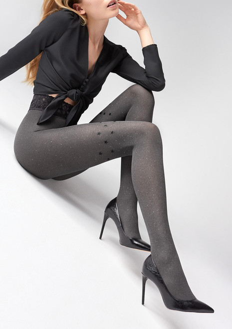 MARILYN fashion opaque tights with sparkles and stars design - EMMY N07 Dark grey