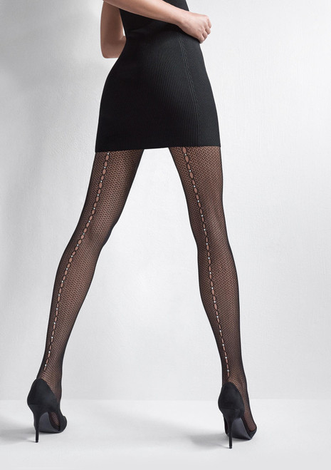 MARILYN fishnet fashion tights with decorative seam and crystals - CHARLY R15 black