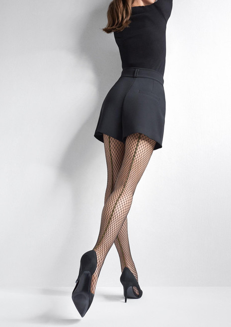 MARLYN fashion fishnet tights with decorative gold back seam CHARLY R16 black
