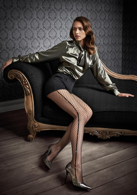 Patrizia Gucci for MARILYN fishnet tights with side decor - G46