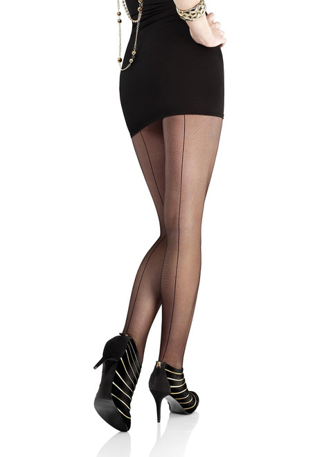 Flores 516 Marilyn tulle tights with back seam black