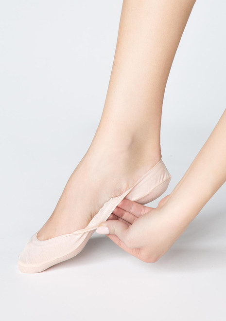 MARILYN bamboo footlet socks with silicon grip beige