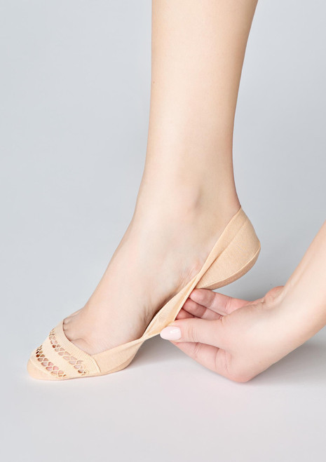 Marilyn Footlet socks cotton P37 with silicon grip beige