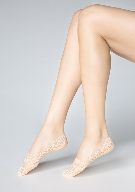 Marilyn Lace Footies P29 with silicon grip Beige
