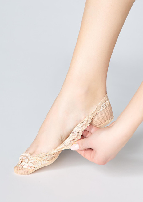 MARILYN lace footies P31 beige with silicon grip