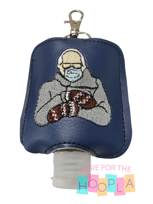 Bernie Mitten Meme Hand Sanitizer Holder with Hand Sanitizer Depicted in Holder