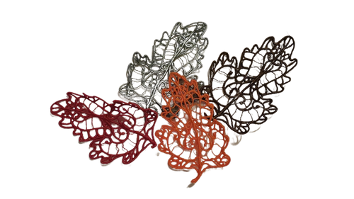 Four lace leaves in autumn colors