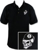 Ozone Billiards 8 Ball Skull Polo Shirt - Black - Free Personalization