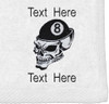 Ozone Billiards 8 Ball Skull Towel - White - Free Personalization