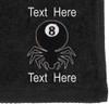 Ozone Billiards 8 Ball Spider Towel - Black - Free Personalization