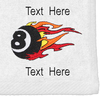 Ozone Billiards Fire 8 Ball Towel - White - Free Personalization