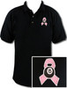Ozone Billiards Pink Ribbon Black Polo Shirt - Free Personalization